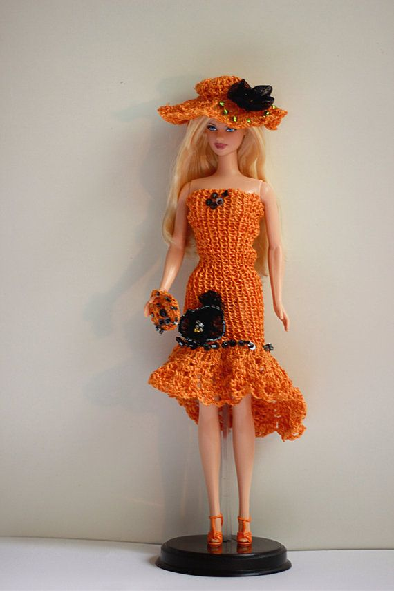 Doll Clothes 4 pieces outfit: dress hat purse and by Fashione4Doll ☆