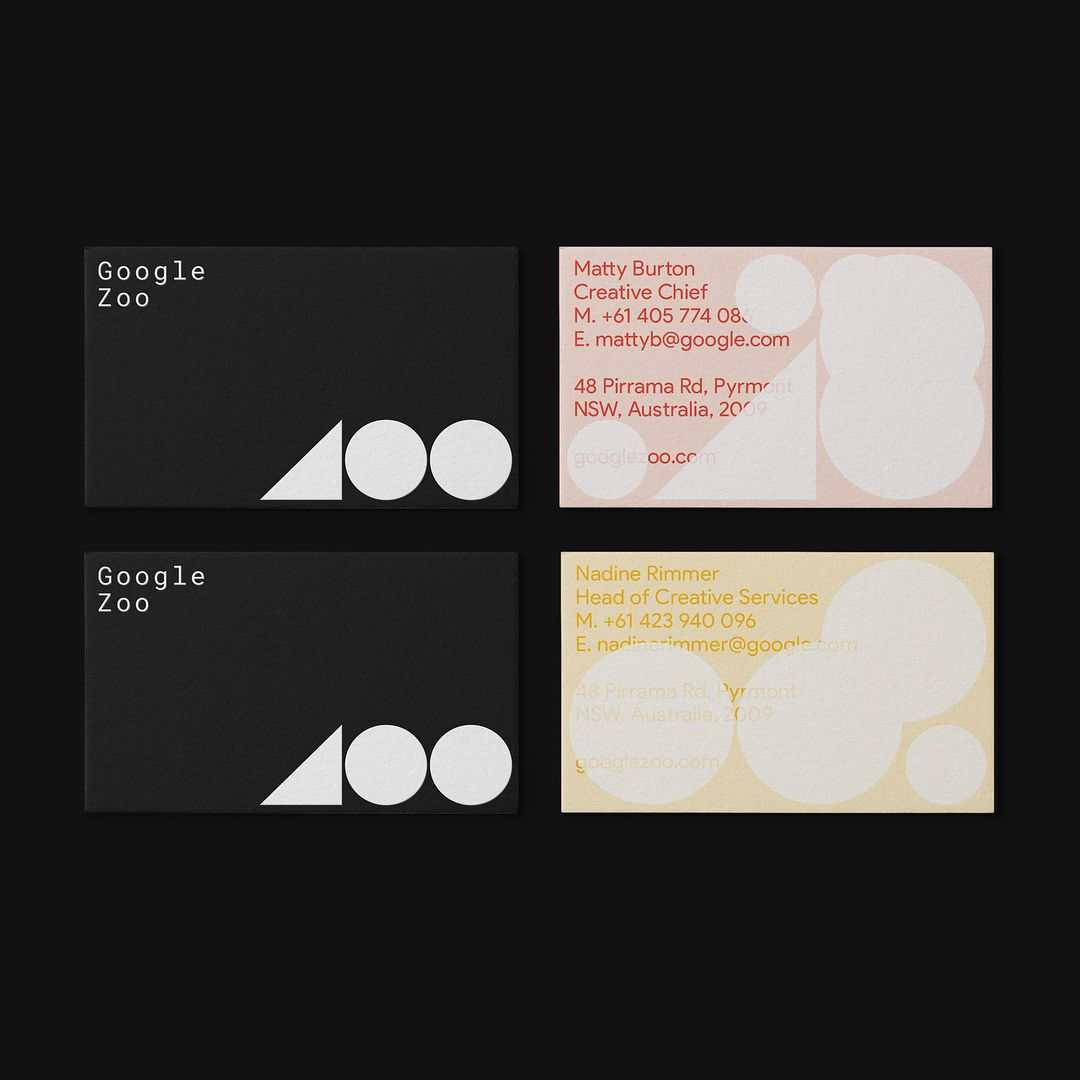 Google Zoo Business Cards Capture Each Persons Individual Process On The Reverse Side Overprinting It Across
