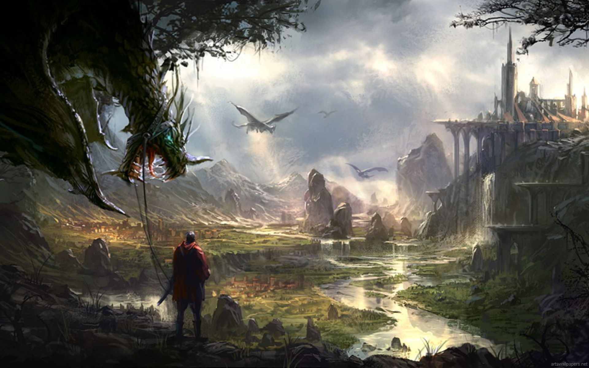 Taming Dragons The Old Fashioned Way Fantasy Pictures Fantasy Images Fantasy Art Landscapes