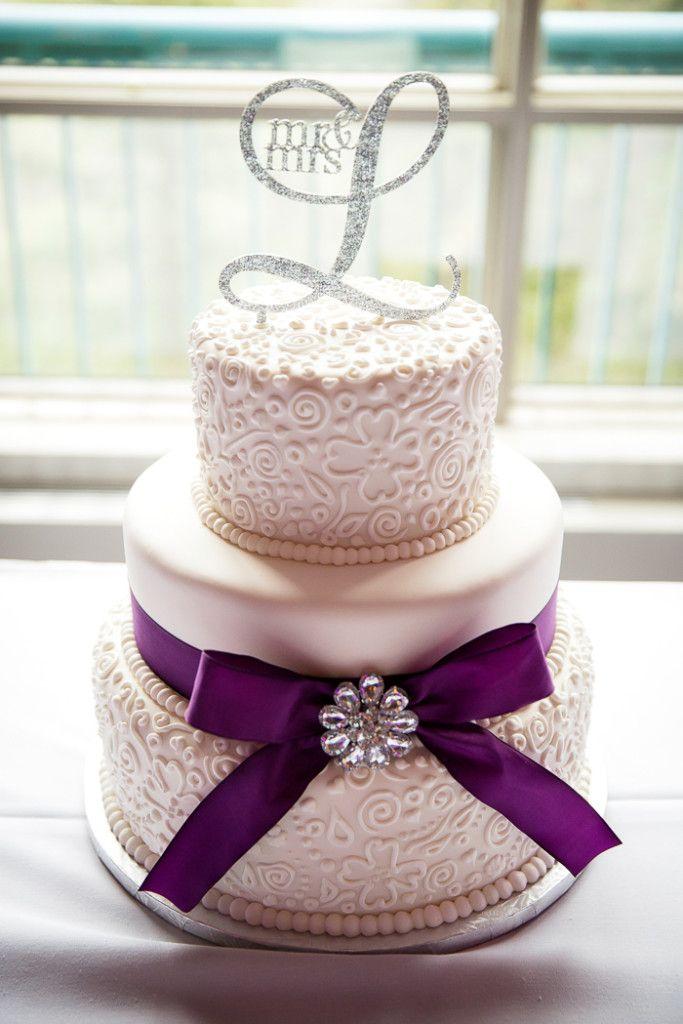 Elegant purple and white three tier wedding cake - Kim Payant ...