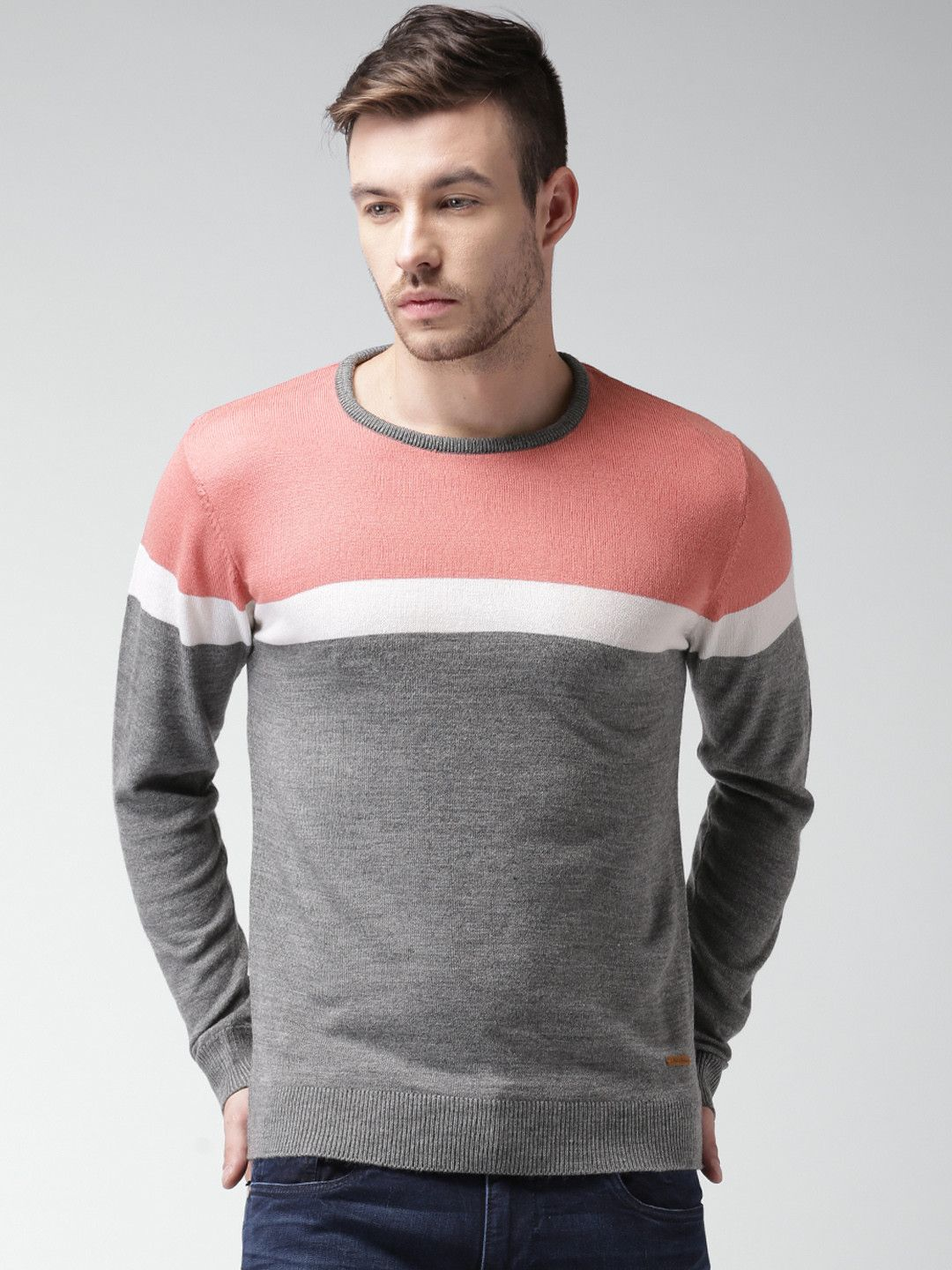 Mast & Harbour Pink & Grey Printed Acrylic Sweater | Men's T-Shirt ...