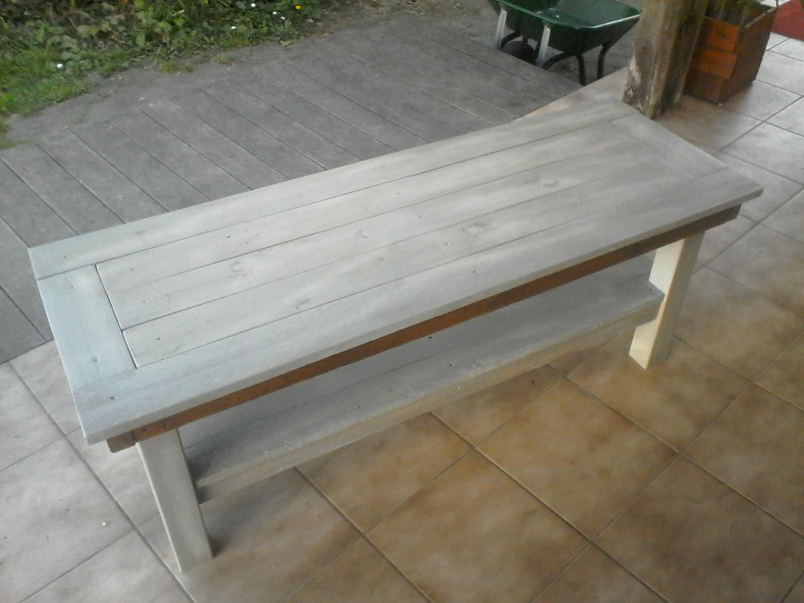 Table Basse En Bois Recycle 150 X 50 Cm Hauteur 45 Cm Autour Du