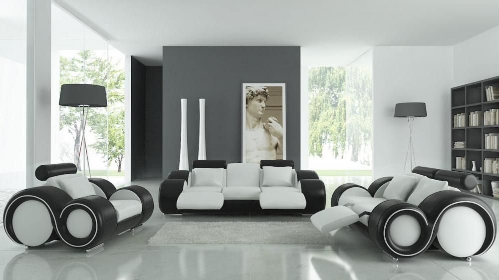 Terrific Modern Franco Bonded Leather Sofa Set White Black Ocoug Best Dining Table And Chair Ideas Images Ocougorg