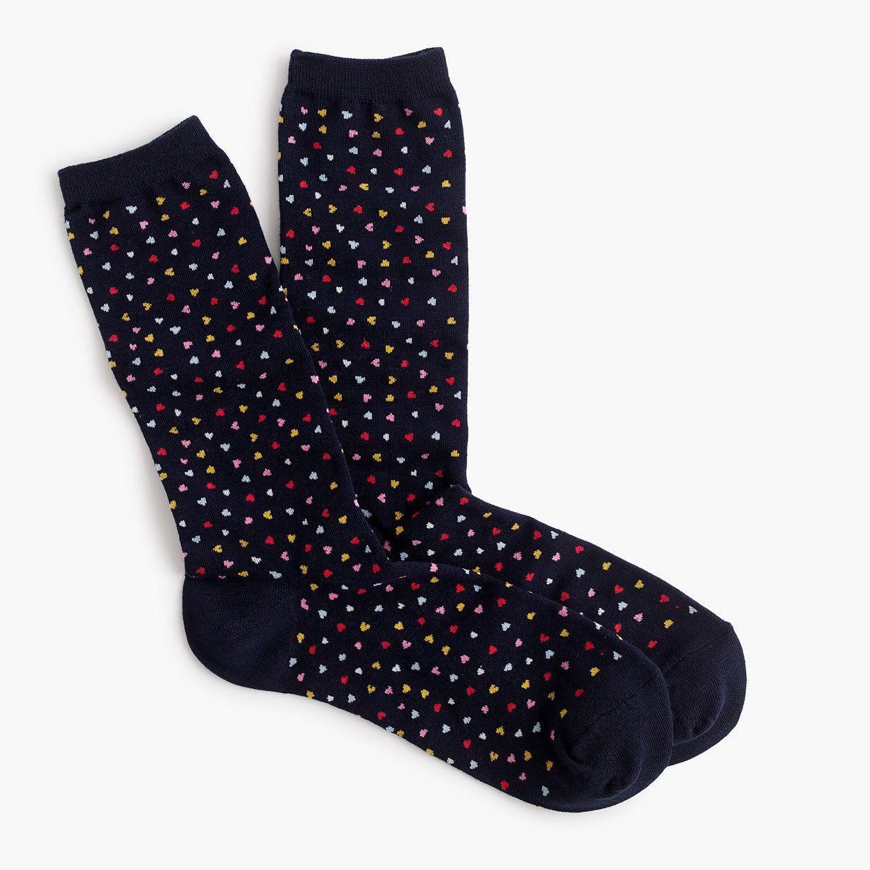 ef6674e87 J.Crew Womens Trouser Socks In Heart Print