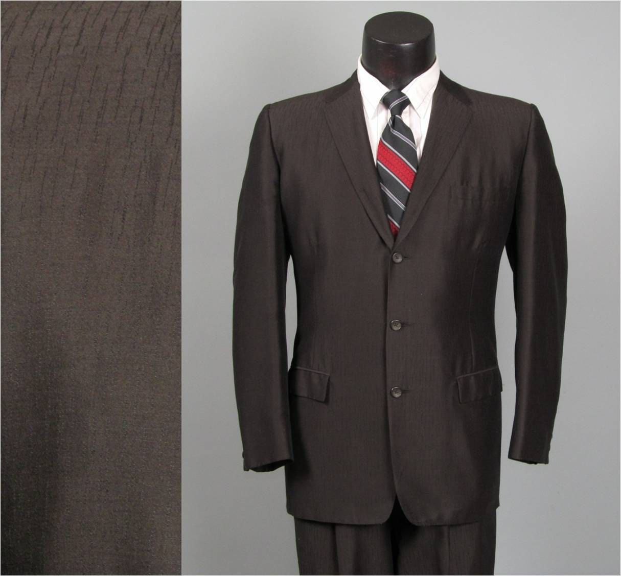 Vintage Mens Suit 1950s Rockabilly Shiny Black By Jauntyrooster