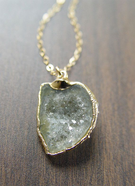 Featuring a beautiful sage green colored agate geode drusy gemstones which was hand crafted into a 14k gold filled charm, complimented by 18 long