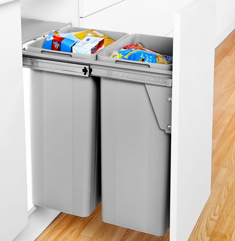 Bio Double Door Mounted Waste Bin Kitchen Bin Recycling Bins Kitchen Integrated Kitchen Bins