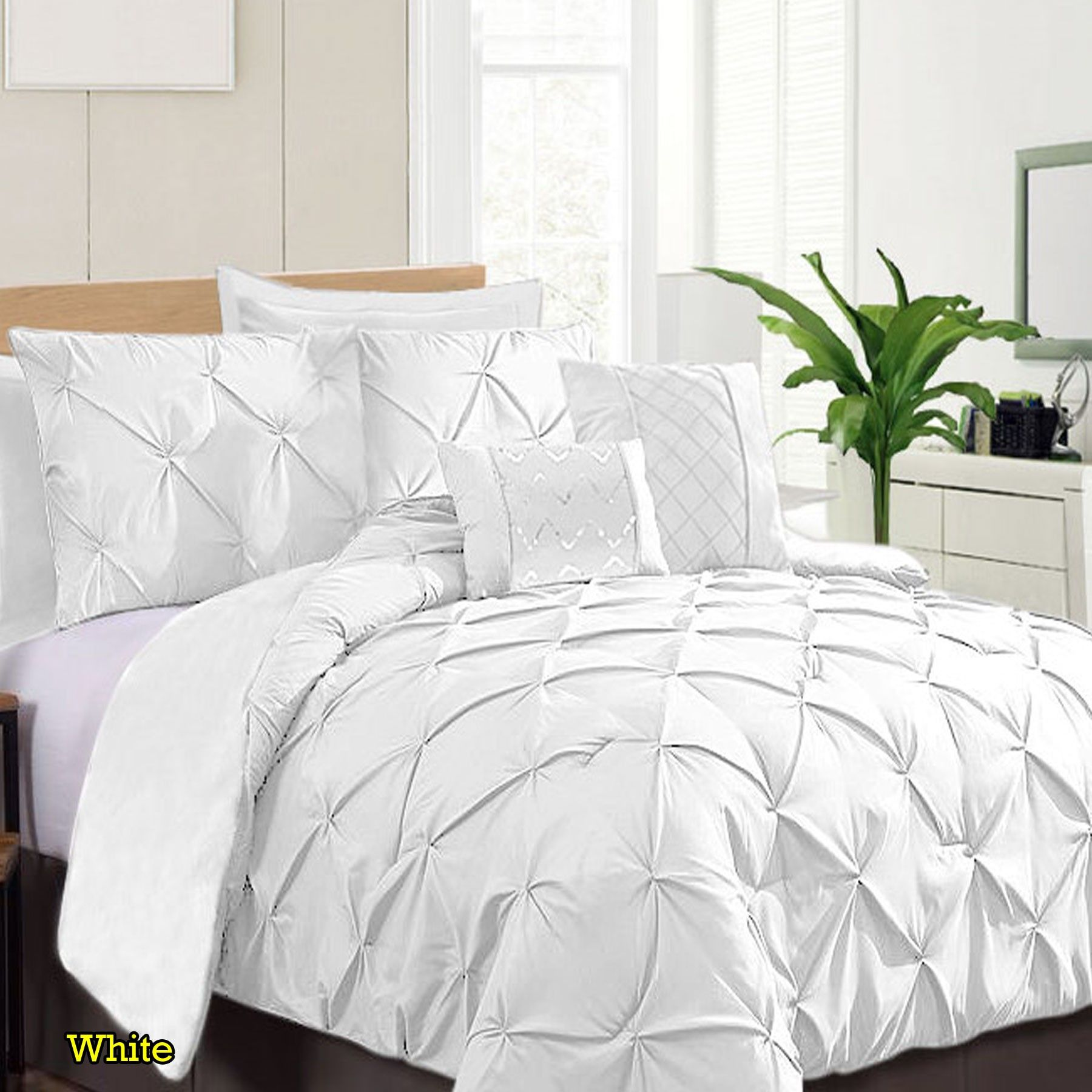 7 Piece Pinch Pleat Comforter Set White By Ramesses Comforters