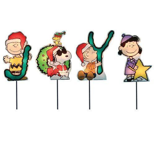 nice Peanuts Snoopy Gang Pathway JOY Christmas Lighted Yard Lawn