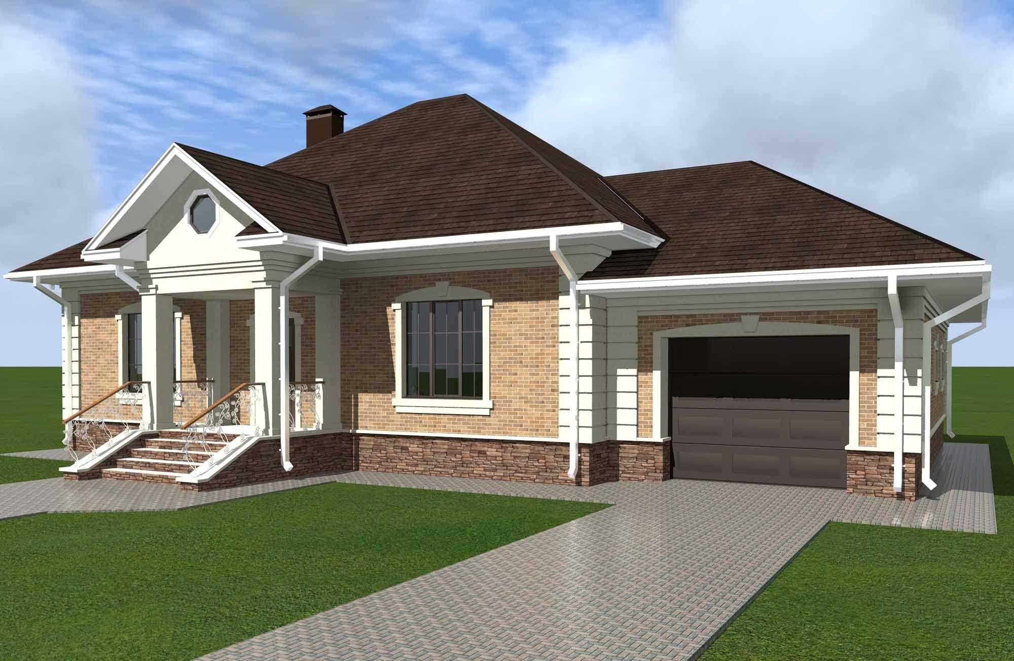 дизайн одноэтажного дома с гаражом - Поиск в Google | Дом ...