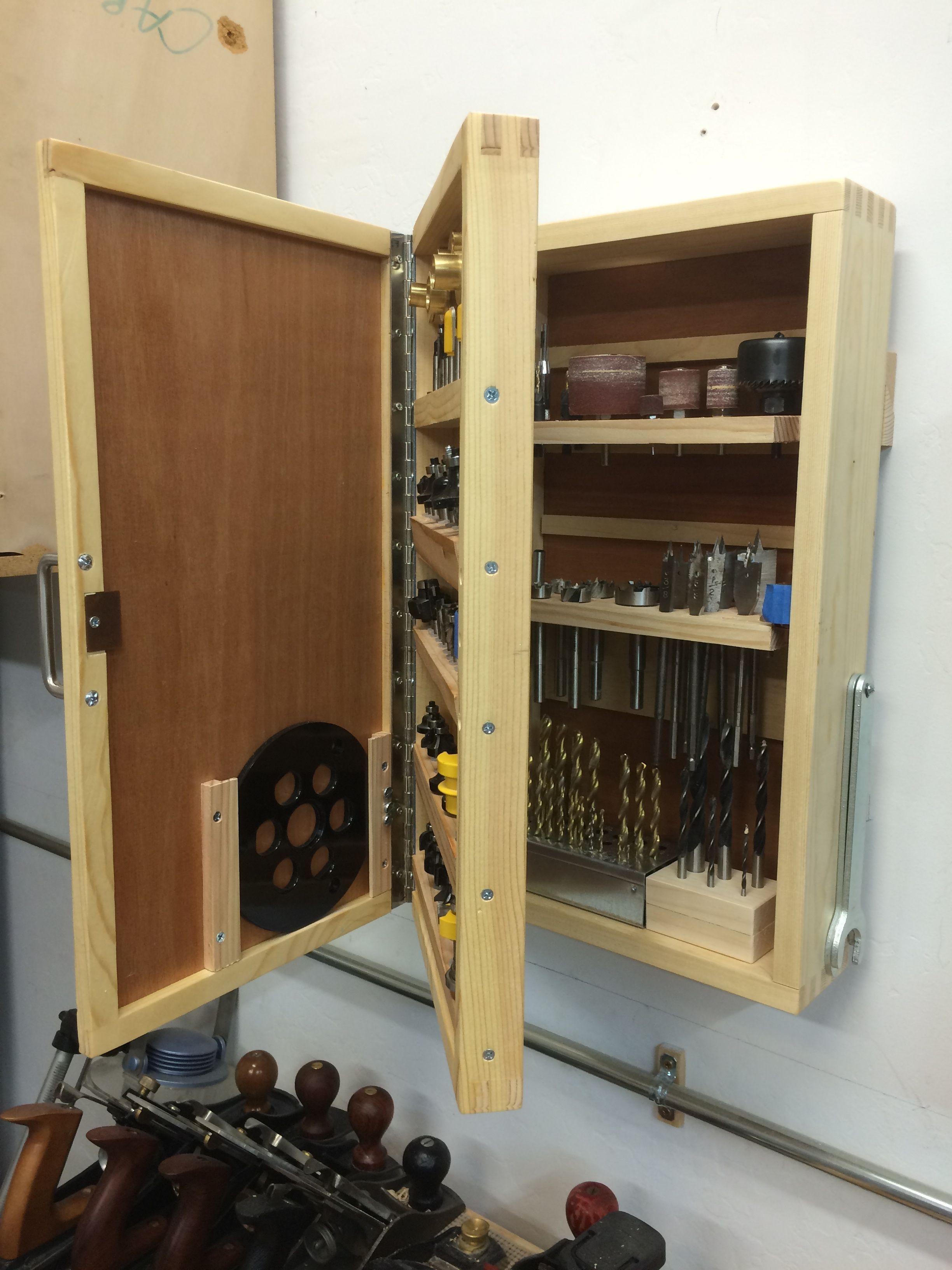 Drill Amp Router Bit Storage Cabinet Woodworking Garage