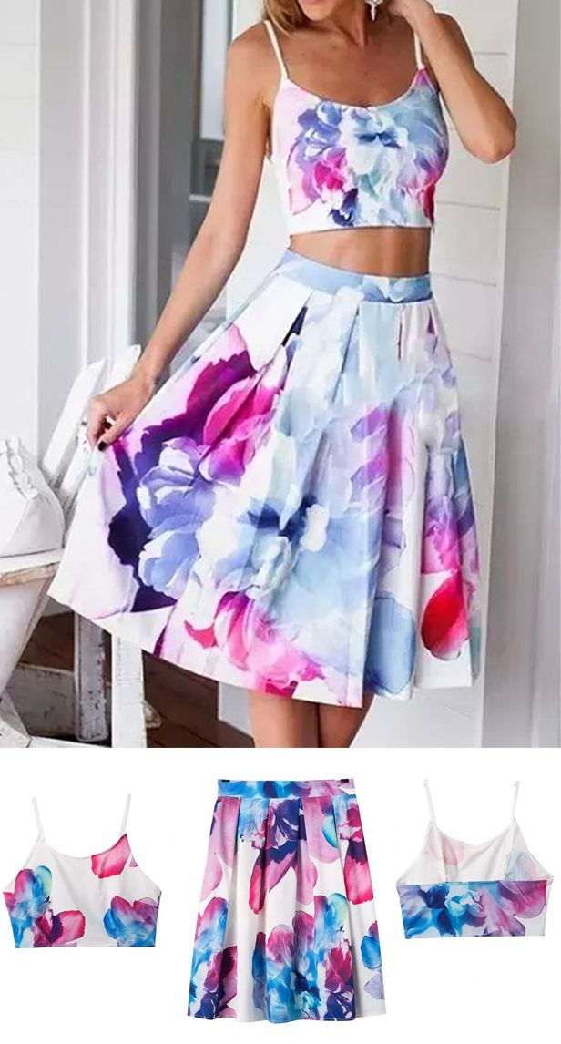 White Painted Floral Print Cami Crop Top And High Waist Skater Skirt