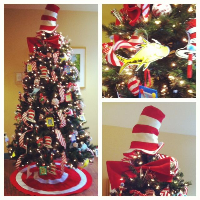 Our Cat in the Hat Tree decorated by a volunteer group! | Christmas tree themes, Office ...