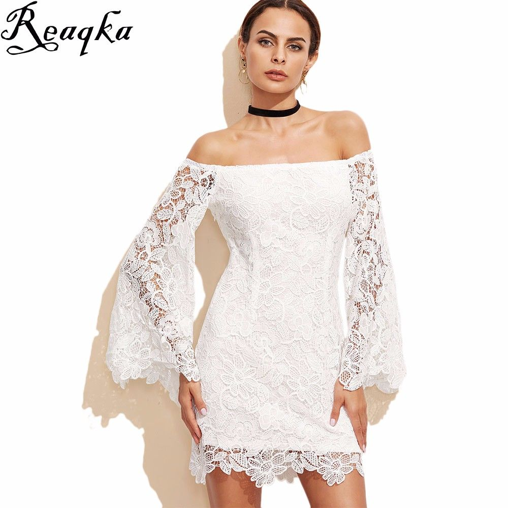 White sexy off shoulder lace dress products lace and dresses