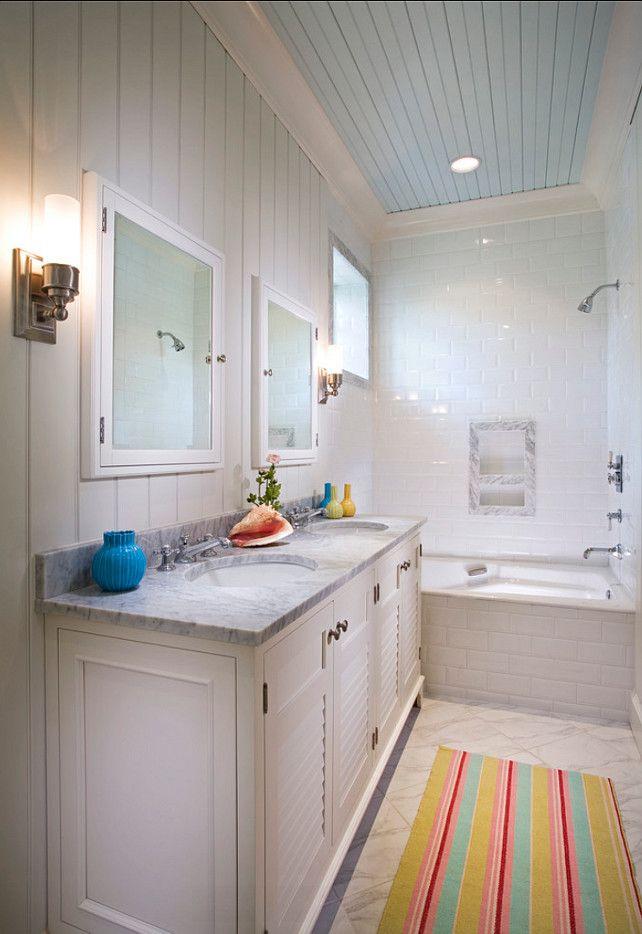 Bathroom Bathroom Ideas Coastal Bathroom With Painted Blue Ceiling And Beadboard Walls Bathroom Beadboard Bathroom Blue Ceilings Coastal Bathrooms