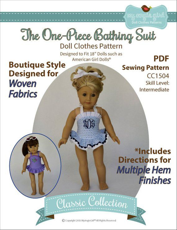 Pixie Faire My Angie Girl The One-Piece Bathing Suit Doll Clothes Pattern for 18 inch American Girl Dolls - PDF