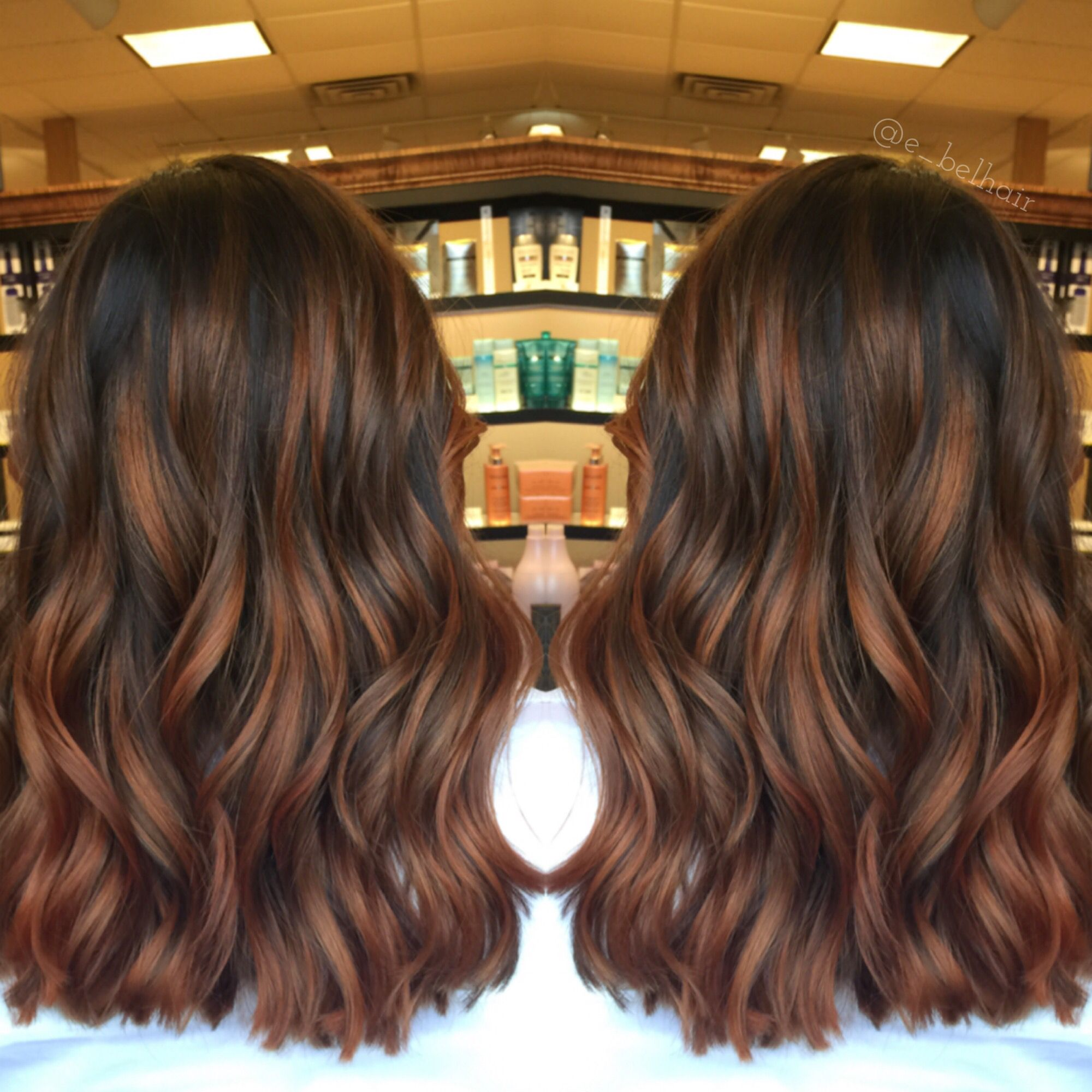 Cinnamon Spice Balayage Hair Styles Cinnamon Hair Brunette Hair Color