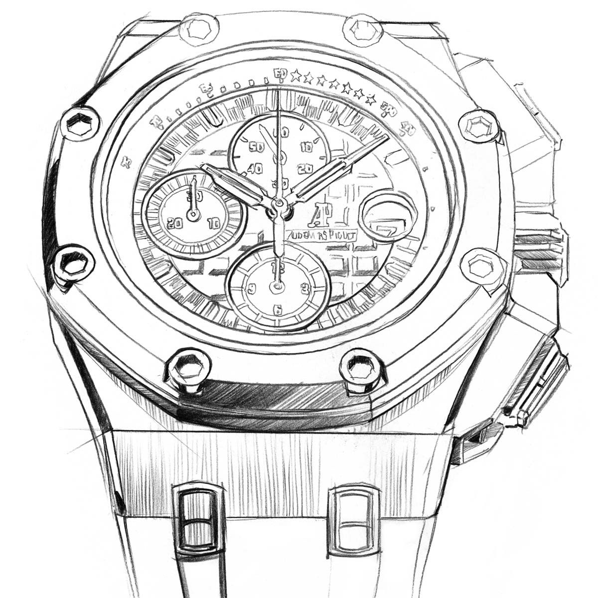 A Drawing Of A Limited Edition Audemars Piguet Royal Oak