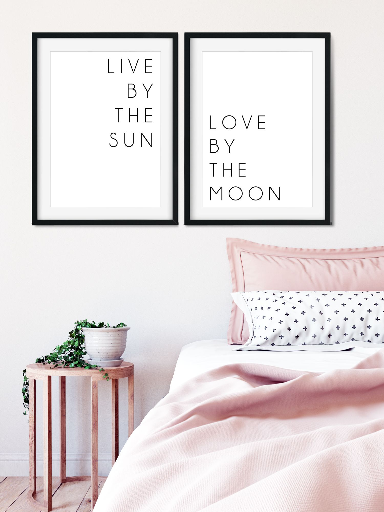 Live by the sun art print above bed decor above bed set of