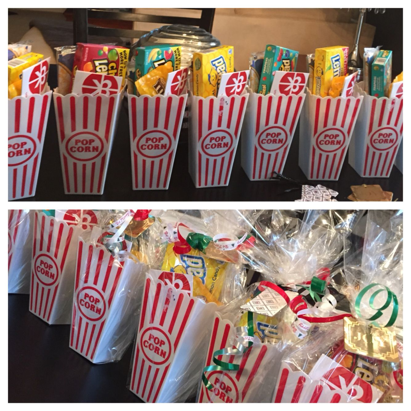 Christmas gift employees movie ticket popcorn and candy