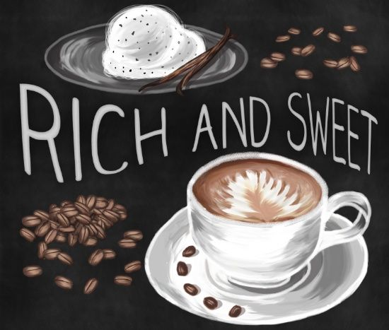 Sweet Treats Art Print by Strange Charm | An ode to the things that help me create! illustration, drawing, design, painting, digital, coffee, drink, beverage, cup, ice cream, sweet, dessert, treat, rich, vanilla, bean, typography, chalk, chalkboard, milk, dairy, cream, gelato, impression, impressionist, foam, barista, porcelain, saucer,  food, black, white, brown, cafe, latte, cappuccino, espresso