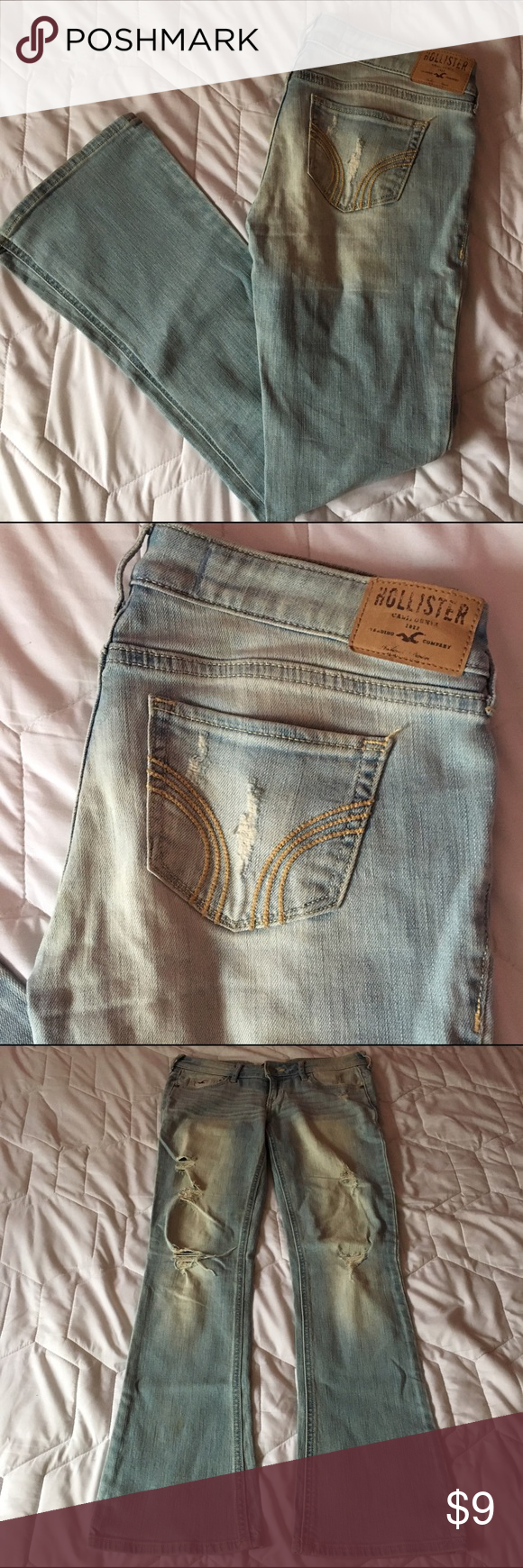 Hollister Light Wash Distressed Boot Cut Jeans light wash jeans from hollister with rips. well worn and has a mark on the bottom left leg that could come out with another wash or using a stain stick Hollister Jeans