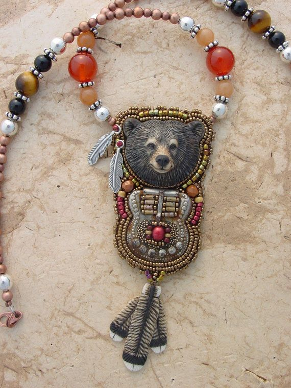 Bear and Buckle Necklace by HeidiKummliDesigns on Etsy