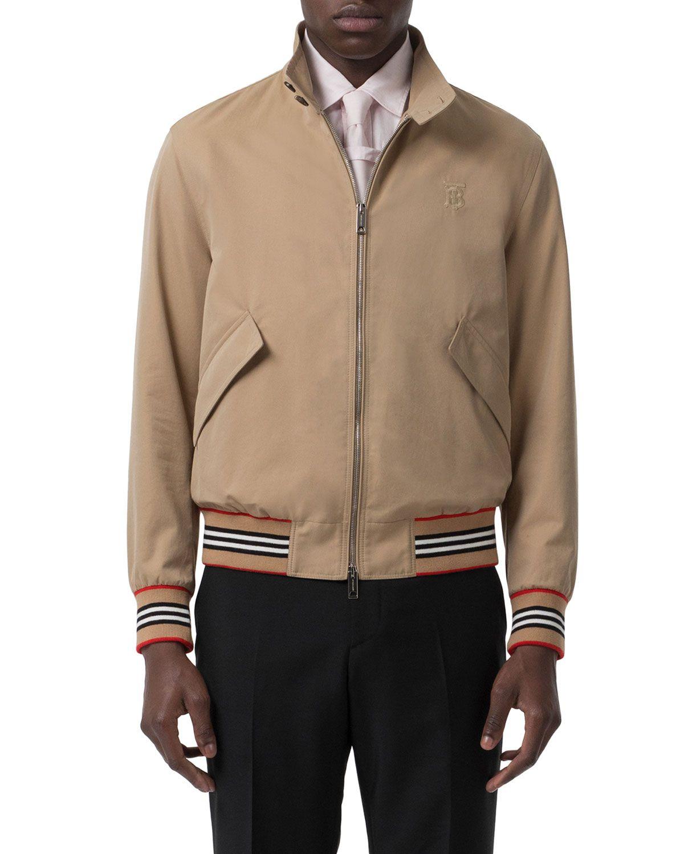 Burberry Icon Stripe Detail Cotton Gabardine Harrington Jacket In Neutrals Modesens Bomber Jacket Jackets Burberry Men [ 1500 x 1200 Pixel ]