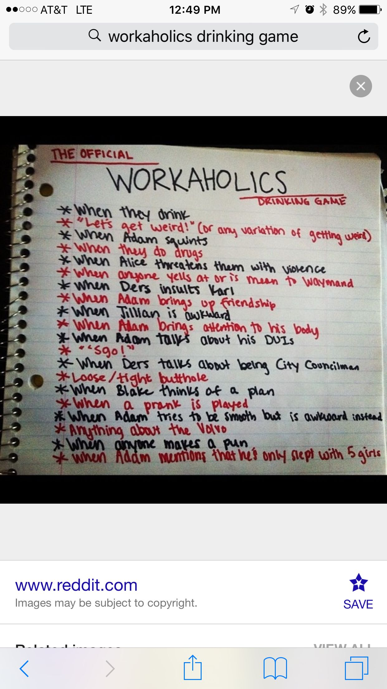 Workaholics Drinking Game