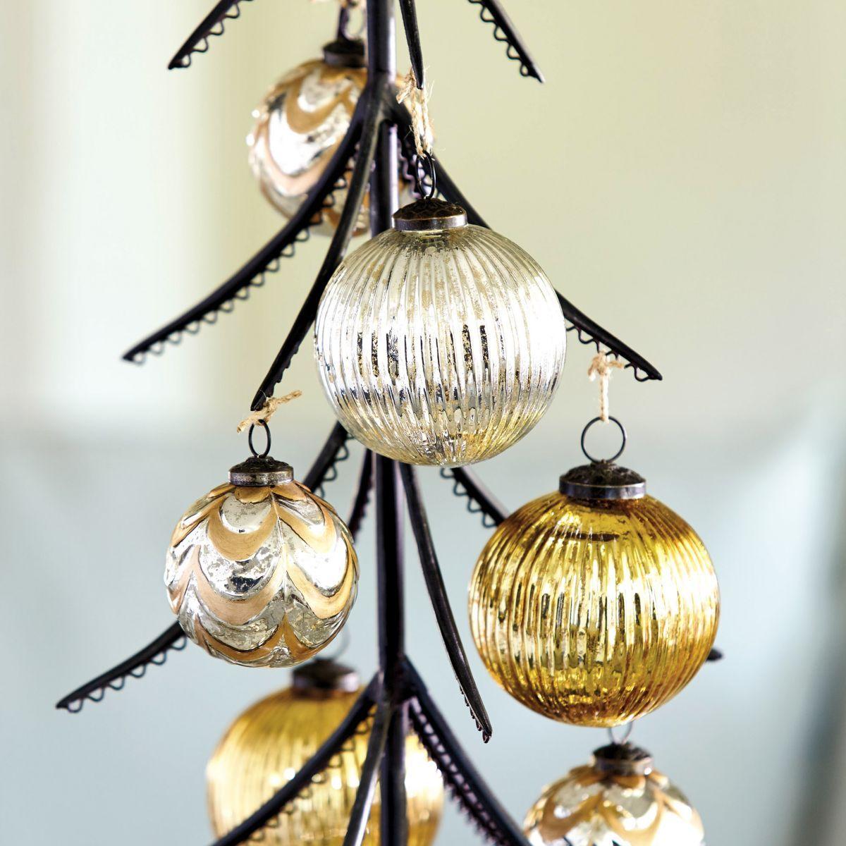 Mercury Balls Decorations Fluted Mercury Glass Ornaments  Set Of 3  Christmas  Pinterest