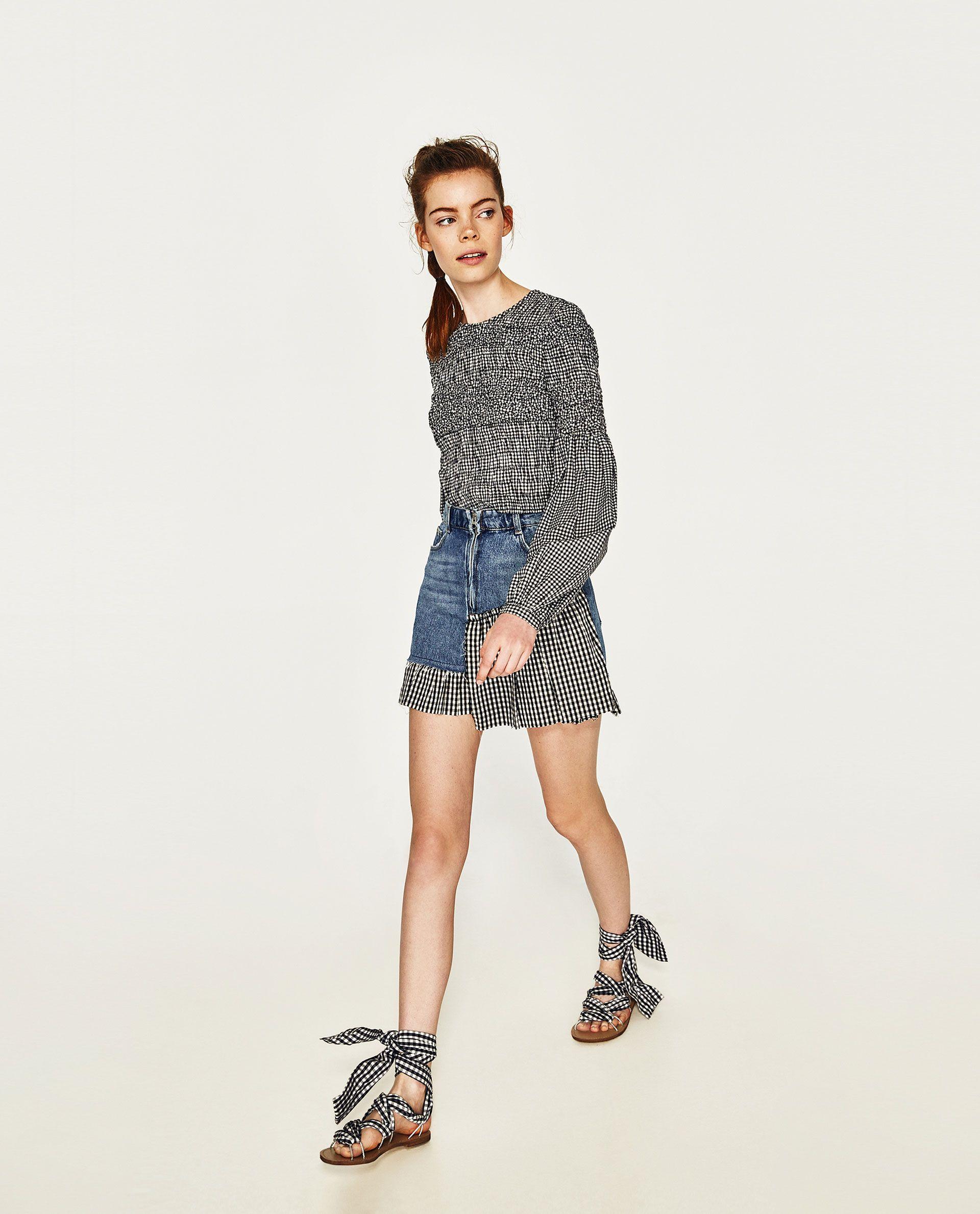 ffef68933 FALDA DENIM CUADROS | Zara Fashion 2017 | Jeans rock, Jeans und Zara ...