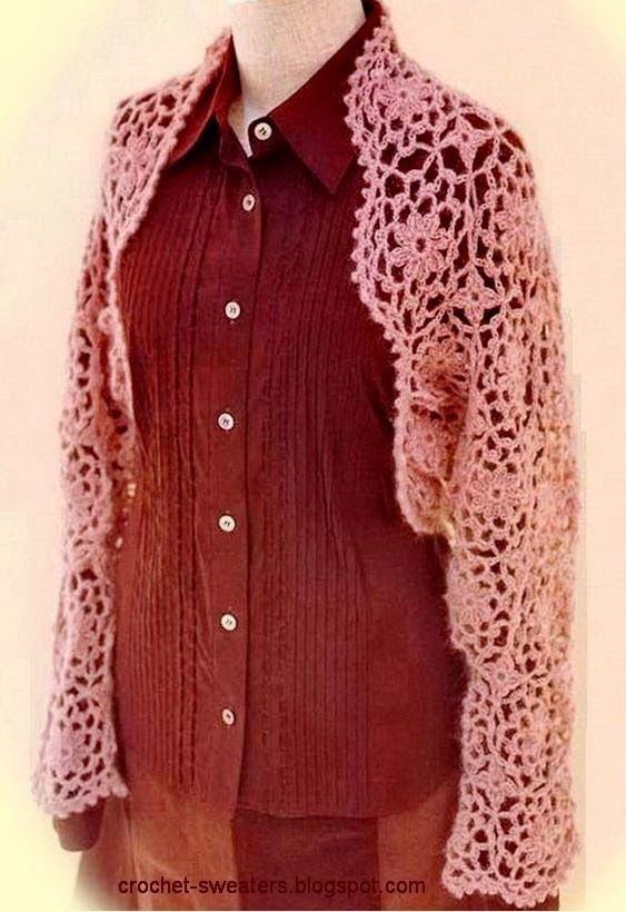 Crochet Sweaters: Crochet Shrug Pattern For Women - Chic | Shrug ...