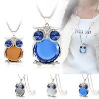 Wish   4 Colors New Owl Necklace Crystal Pendant Necklaces Classic Animal Long Necklace Jewelry For Women Gift