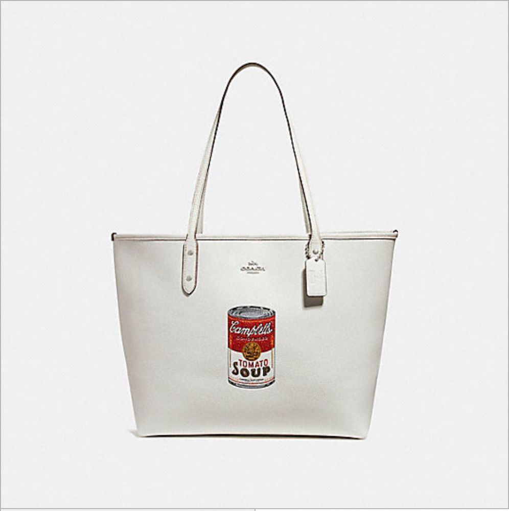 Nwt Coach F25948 City Tote With Campbell S Soup Motif In Chalk White Coach Tote Tote Chalk White Coach