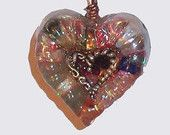 Beautiful Heart Shaped Women's Orgone Jewelry Pendant / EMF Protection / Lovingly Made Orgonite with intentions of Love & Peace / FREE Chain