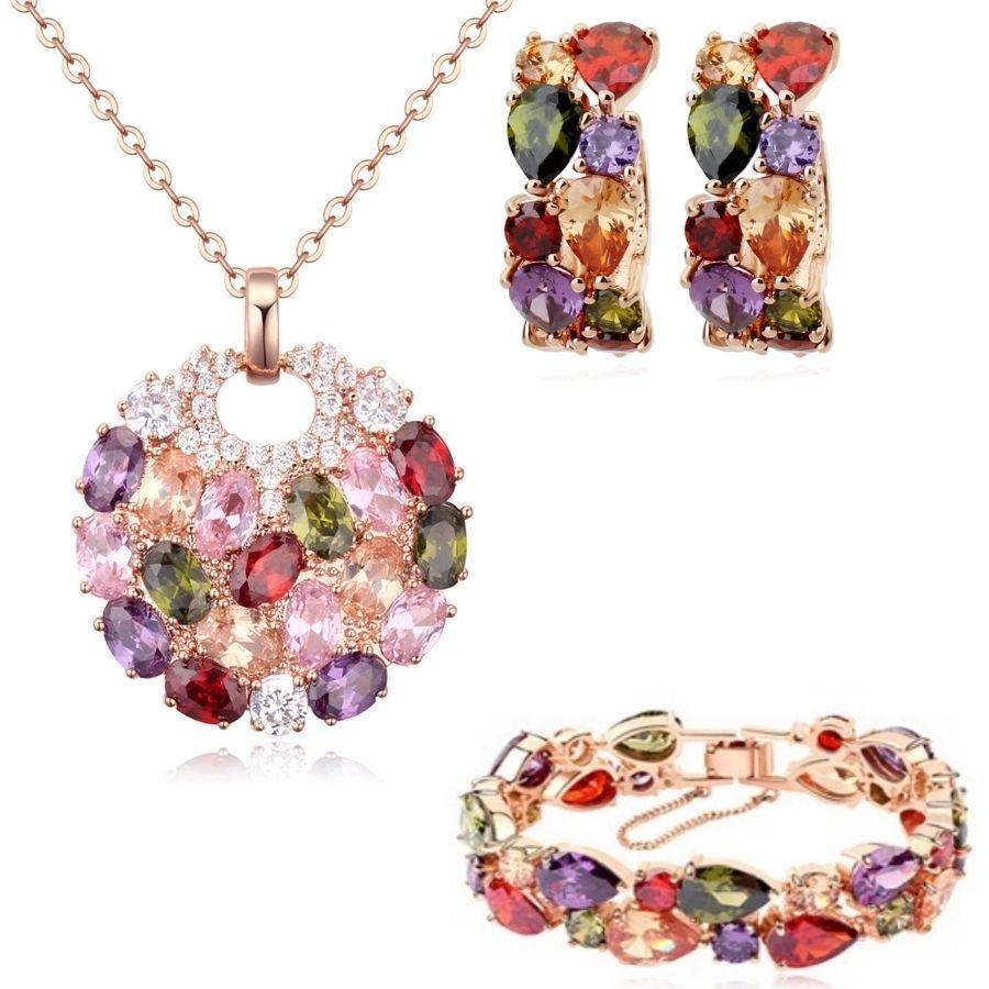 K rose gold gp multi swarovski crystals set necklace earrings