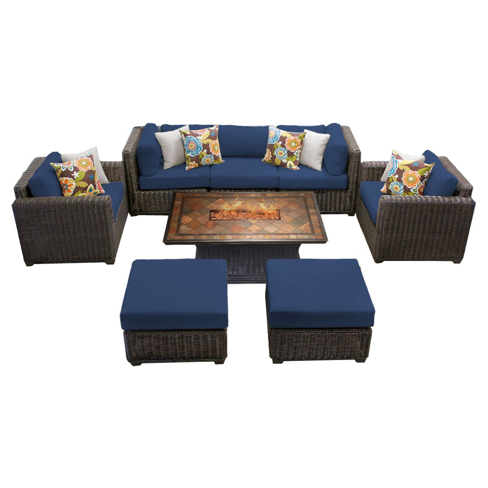 Tk Classics Venice 8 Piece Outdoor Sectional Set With Vienna Fire