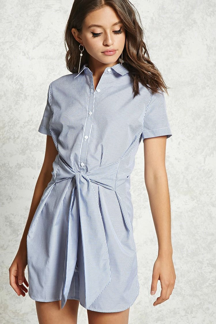 A Woven Shirt Dress Featuring An Allover Stripe Pattern A