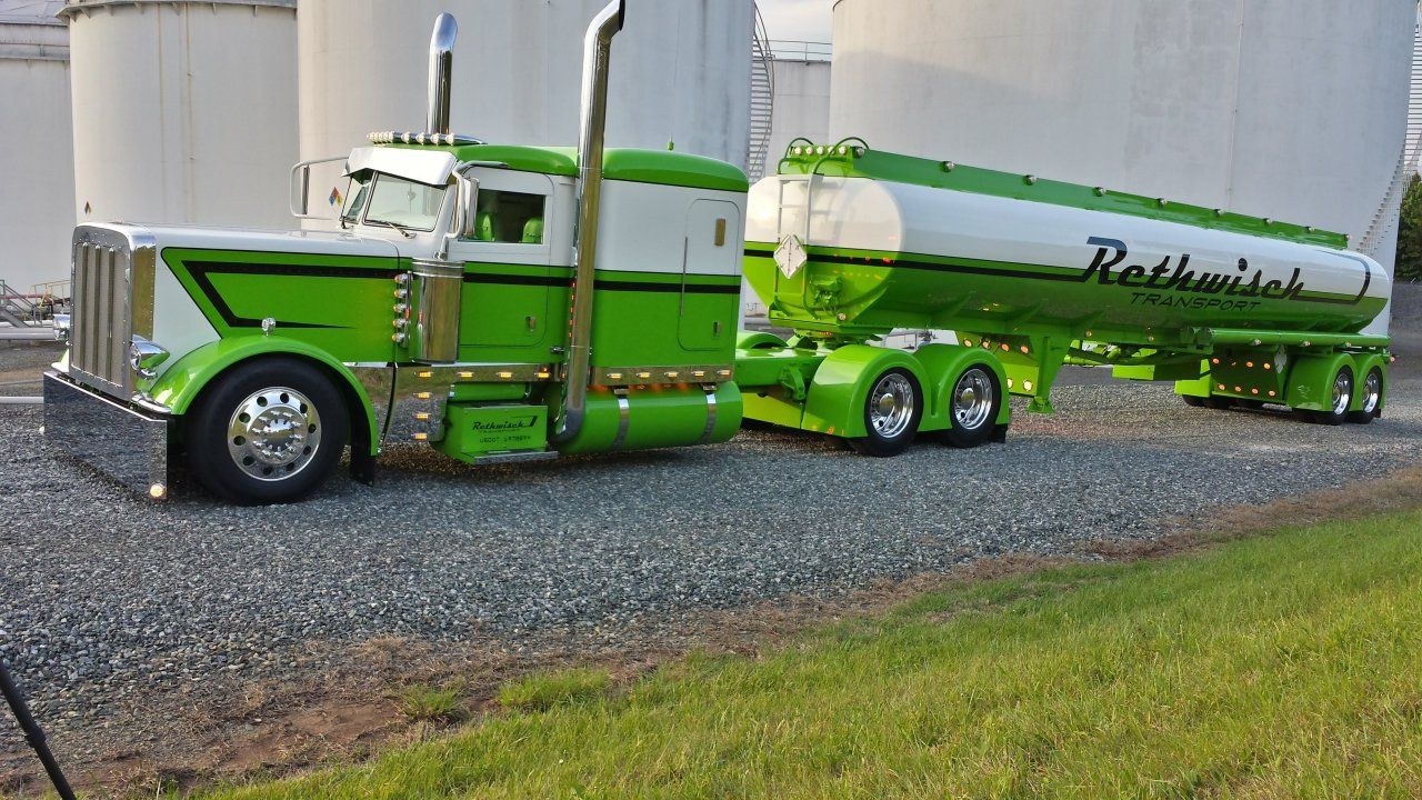 Pictures Of Green Peterbilt Tanker Truck
