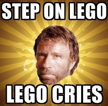 Chuck Norris, you make me laugh.  Step on Lego. Lego cries.