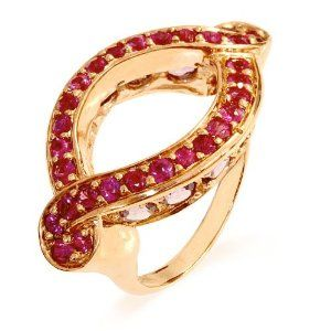 10k or 14k Yellow Real Gold White Red CZ Fancy Hook Floral Womens Ring
