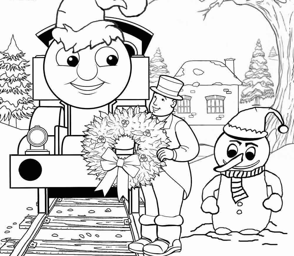 Thomas In The Christmas Coloring Page Train Coloring Pages Coloring Pages Winter Merry Christmas Coloring Pages