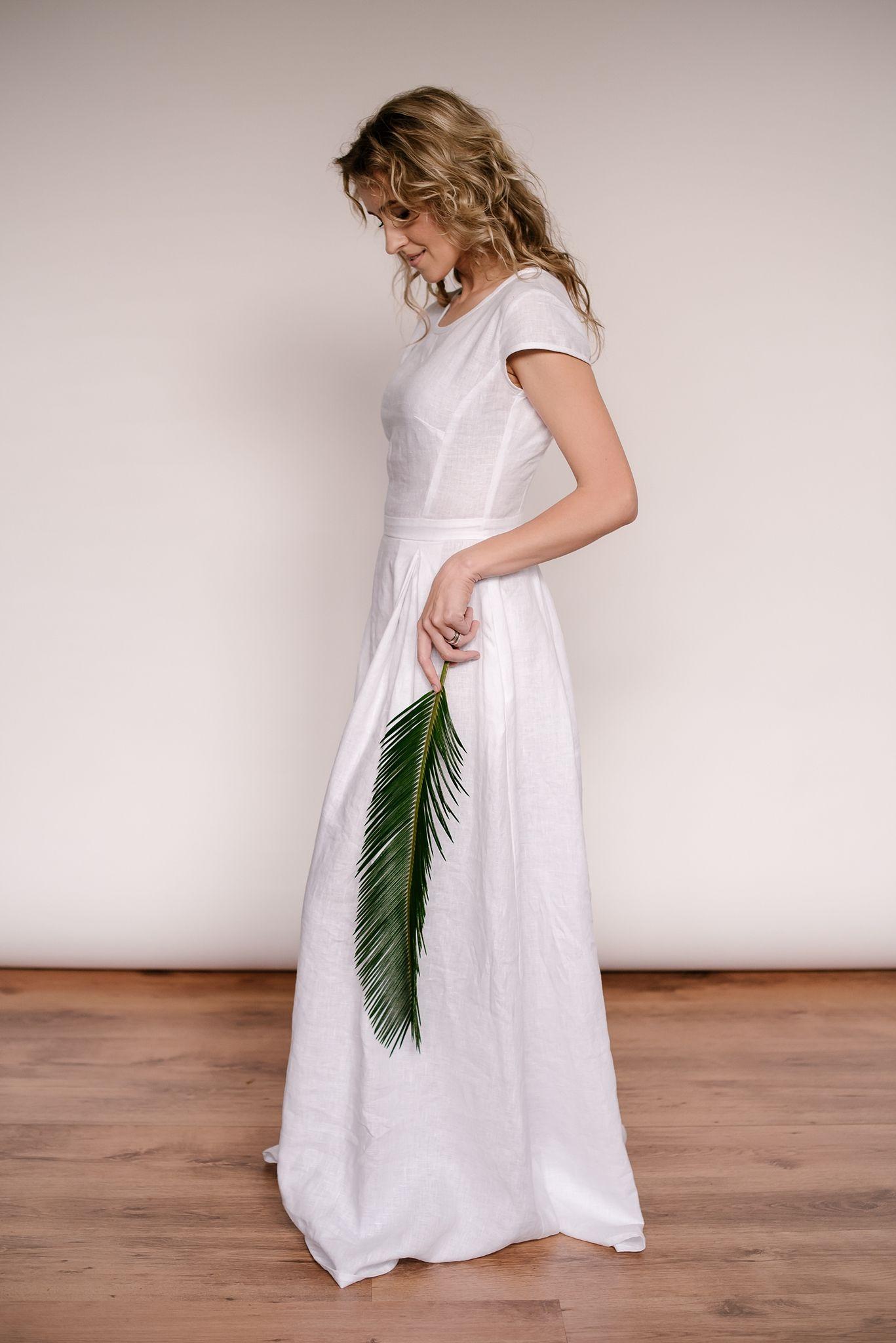 Linen modest wedding dress (With images) Linen wedding