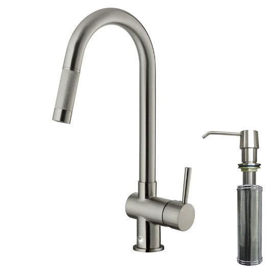 """Vigo One Handle Single Hole Pull-Out Spray Kitchen Faucet with Soap Dispenser. Stainless steel. 360 degree swivel spout. Overall faucet height: 17"""" (tall! need the cabinets above to be 24"""" off the counter). Spout reach: 7.88"""". $177 (saved $48 w/ trade discount) + tax. Free shipping."""