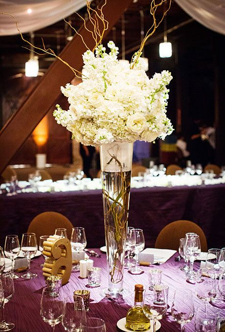 Clear trumpet glass vase wedding centerpiece