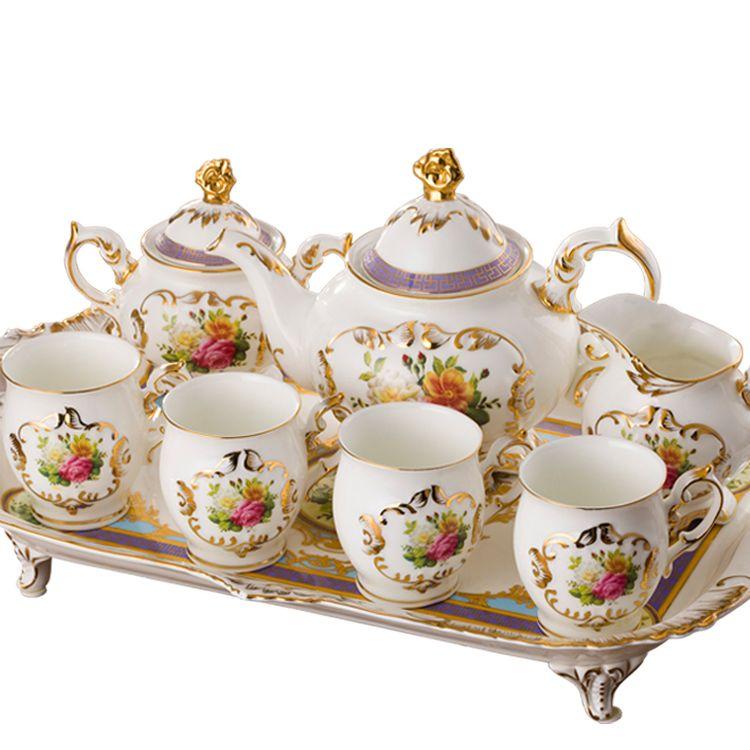 English Tea Sets White Fashion Coffee Cup Of Pattern Ceramic Set Quality