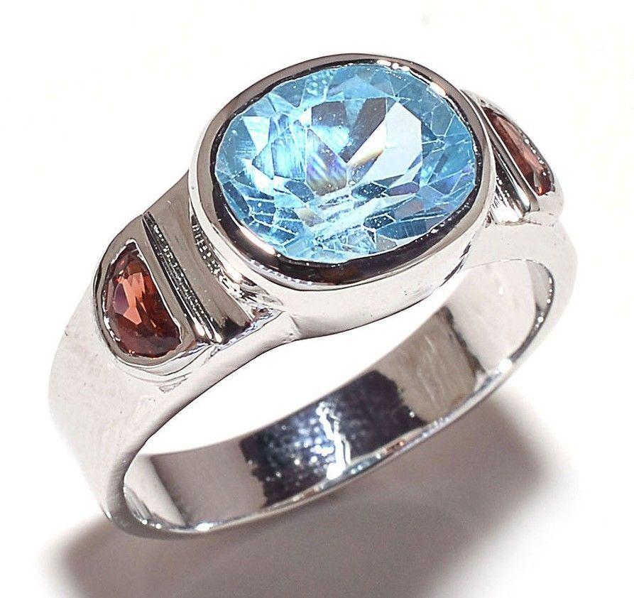 dc2b3550b1b9 925 Sterling Silver Blue Topaz   Garnet Gem Stone Ring Men s Jewelry ...