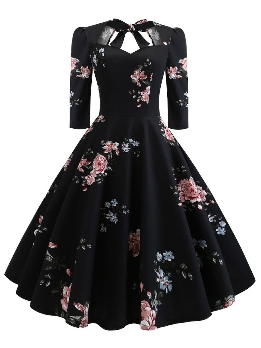 50s Floral Print Knot Dress Sheinsheinside Perfect
