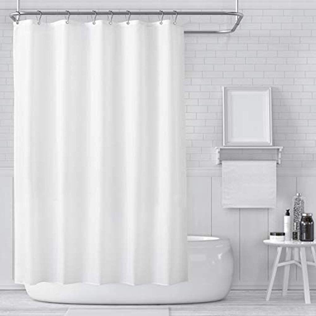 Carttiya Duschvorhange Textil Bad Vorhang Aus Polyester Anti Schimmel Wasserdichter Waschbar Stoff Badez White Shower Curtain Fabric Shower Curtains Shower Tub