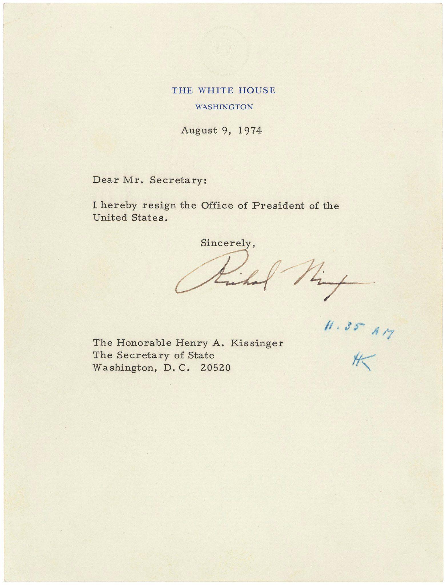 Resignation Letter Of Pres Nixon Days Of Yore Pinterest